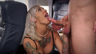 Tattooed flight attendant Kleio Valentien sucks dick on plane