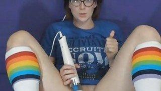 Nerdy Babe Masturbates Till Her Pussy Gets Wet