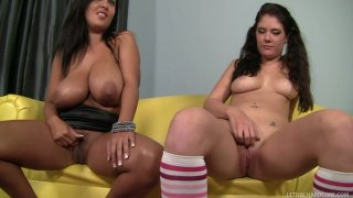 Buxom black haired nymphos Brittany Banxxx & Jaylene Rio suck a cock