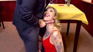 Keiran Lee gets sucked off by Kleio Valentien in a restaurant