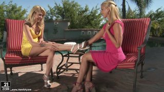 Sandy and Monique Alexander eat cake and suck nipples
